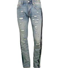 cult of individuality men's rocker slim rigid ripped jeans - light stone - size 30