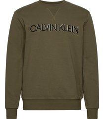 3d embroidery logo sweatshirt sweat-shirt trui groen calvin klein