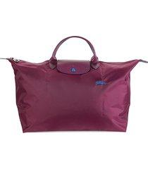 longchamp women's large le pliage club travel bag - plum