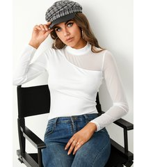 yoins basics blusa de manga larga con cuello alto y retales de malla