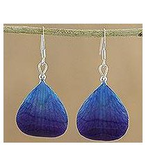 natural orchid dangle earrings, 'twilight' (thailand)