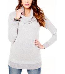 women's ingrid & isabel cowl neck maternity sweater, size large - grey