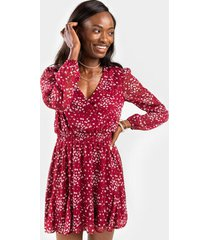 juliet floral mini dress - burgundy