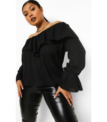 plus off shoulder blouse met ruches en wijd uitlopende mouwen, black