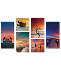 """chic home decor ocean view 6 piece set wrapped canvas wall art -39"""" x 54"""""""