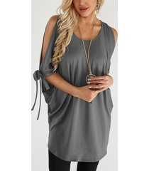 grey cut out round neck cold shoulder lace up details short sleeves t-shirt