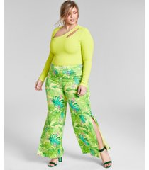 nina parker trendy plus size side slit pants, created for macy's