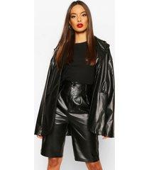 faux leather oversized jacket, black