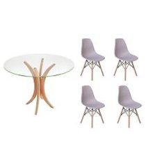 kit mesa de jantar 90cm tampo de vidro + 04 cadeiras charles eames - cinza