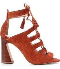 ankle boot couro shoestock tassel tiras - feminino
