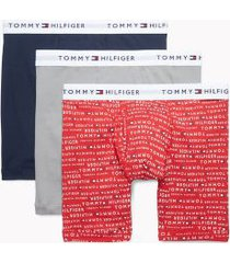 tommy hilfiger men's cotton classics boxer brief 3pk navy blazer/tango red logo print/steeple grey - xxl