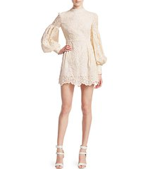 open-back puff sleeve macrame lace mini dress