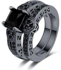 2 pezzi / set classico nero zirconia anello di fidanzamento per le donne punk gun black heart rings