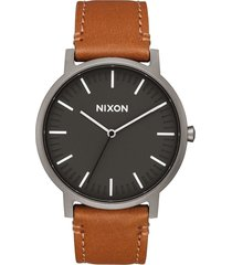 nixon the porter leather strap watch, 40mm in gunmetal/charcoal/taupe at nordstrom