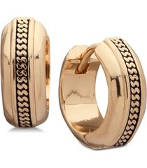 anne klein gold-tone textured mini huggie small hoop earrings