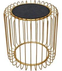 mesa lateral de metal dourado e madeira - incolor - dafiti