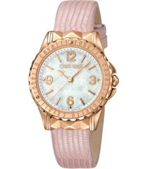 roberto cavalli by franck muller women's swiss quartz pink leather strap watch, 34mm