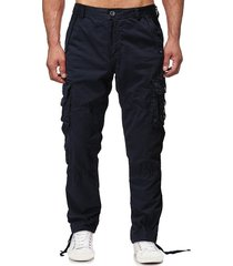 solid flap pocket long straight cargo pants