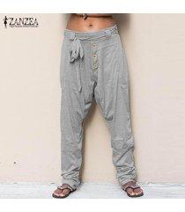 zanzea s-5xl de las mujeres pantalones largos ocasionales de gran tamaño de gota de la entrepierna drape llanura pantalones plus -gris claro