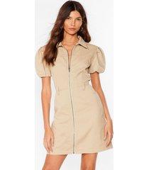 womens zip it puff sleeve mini dress - oatmeal