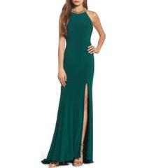 women's mac duggal beaded halter neck column gown, size 12 - green