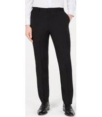 dkny men's modern-fit stretch black solid suit pants
