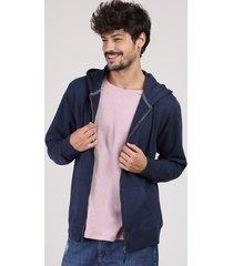 blusão masculino básico em moletom com capuz e bolso azul marinho
