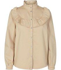 jeans blouse jas silke  beige