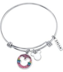 "disney mickey mouse ""dream"" crystal bangle bracelet in stainless steel with silver plated charms"