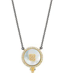 14k goldplated sterling silver, mother-of-pearl & crystal pendant necklace