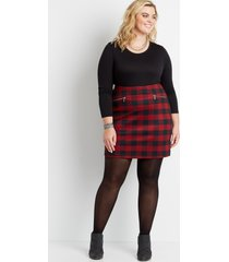 maurices plus size womens high rise buffalo plaid skirt