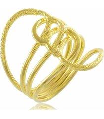 anel quatro fios trançados 3rs semijoias dourado
