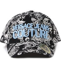 versace jeans couture baseball cap with paisley print and embossed logo