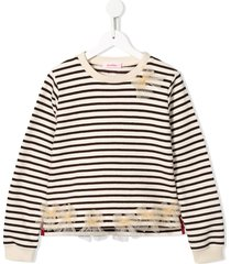 familiar striped mariner sweatshirt - white