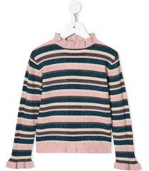 velveteen julie striped ruffle-neck sweater - pink