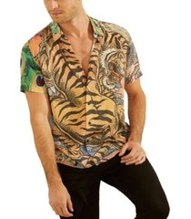 guess men's eco bonsai fitted tiger-print shirt
