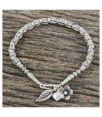 silver beaded bracelet, 'hill tribe reminiscence' (thailand)