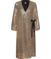 sequins everlee dress knälång klänning guld becksöndergaard