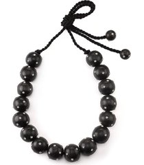 natori acacia wood with silver long round necklace, women's
