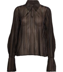 rosette blouse lange mouwen zwart dagmar