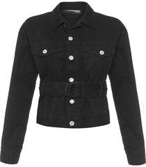 jaqueta feminina com cinto sarja - preto