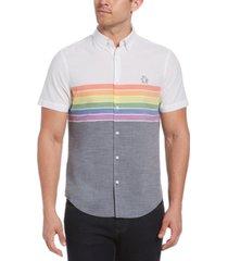 original penguin men's pride striped button-down shirt