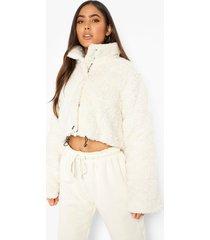 korte oversized gewatteerde fleece jas, cream