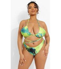 plus hipster tropicana bikini broekje met ceintuur, blue