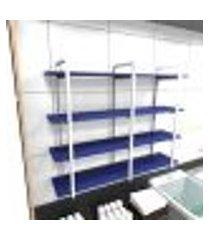 prateleira industrial lavanderia aço cor branco 120x30x98cm cxlxa cor mdf azul modelo ind43azlav