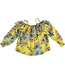 retour gele soepele shiny polyester blouse 3/4 mouw