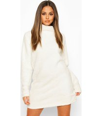 borg roll neck sweatshirt dress, cream