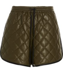self-portrait faux leather quilted shorts
