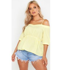 plus gingham flannel cold shoulder top, yellow