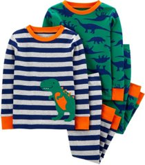 carter's baby boy 4-piece dinosaur snug fit cotton pjs